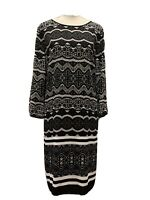 Sussan Black and white print dress. long sleeve size 12. New with tags