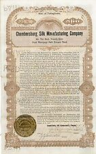 Chambersburg Silk Manufacturing Co > 1904 Delaware old bond certificate share