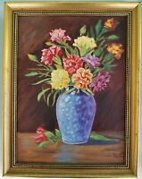 Vintage Signed Oil Painting Still Life Flowers in Blue Vase Vibrant Gold Frame