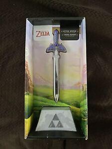 Legend of Zelda Hylian Blue Master Sword Letter Opener Anime Mini Display Stand