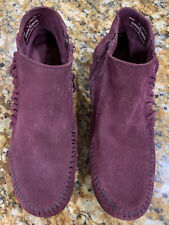 Minnetonka  PURPLE  Fringe Suede Zip Moccasin Boots Womens Size 8 - Excel +