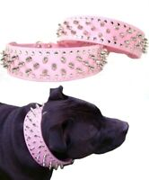 Large Dog Collar Studded Light Pink Leather M  L XL  Wide - Spike Stud Pet Staff