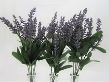 Set of 3 Purple Artificial Lavender Flower with Green Leaves