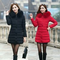 Women Parka Long Fur Collar Hooded Coat Jacket Outwear Down Cotton