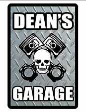 Personalized Garage Sign Printed w YOUR NAME Aluminum Glossy Color Diamond d#384