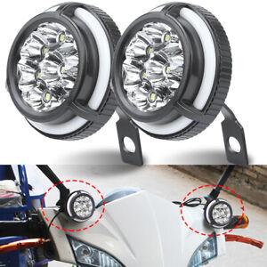 2X Motorcycle LED Spot Light Headlight with Angel Eye Halo Driving Turn Signal