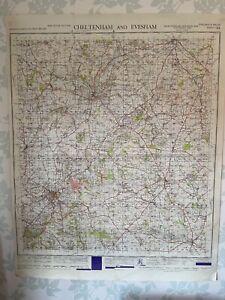 1949 Military System Map Cheltenham & Evesham War Office Edition Gloucestershire