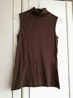 IN EXTENSO WOMENS BROWN SLEEVELESS TOP SIZE 10 L POLO NECK PIT TO PIT 16 STRETCH