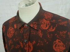 Diesel Men's Button Front Shirt Black with Red Roses Dress Casual Size Medium