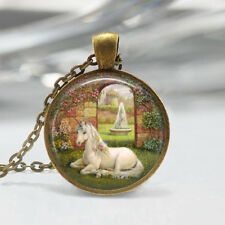 Vintage Horse Cabochon bronze Glass Chain Pendant Necklace G89