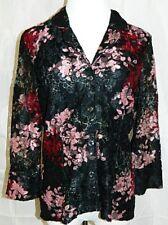 INC International Concepts Petite Blazer Jacket Floral Lace 3/4 Sleeve sz Medium