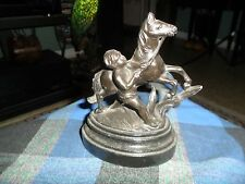 Antique 1870's POT METAL BOY W/HORSE FIGURINE On WOOD BASE Made In England