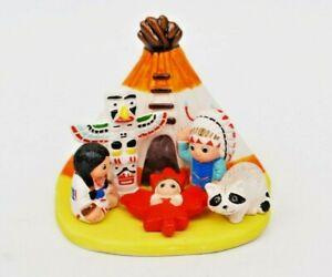 "Native Canadian Nativity Scene - Handmade in Clay - 1 block - 3.1""X2.2""X2.8"""