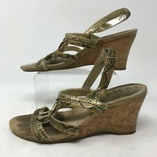 Anne Klein Snake Print Wedge Slingback Sandals Open Toe Leather Gold Womens 7.5