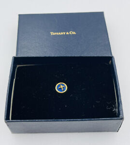 Tiffany & Co. Vintage Authentic 18k Yellow Gold Blue Lapis Small Lapel Tack Pin