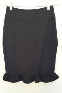 REVIEW Ladies Designer Black Ruffle Hem Pencil Skirt size 6 EUC