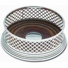 More details for broadway & co- solid silver - wine bottle basket weave straight coaster - 3 3/4