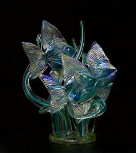 "KEVIN FULTON Seagrass Scenes Tropical Fish Art Glass Sculpture,Apr 8""Wx10""H"