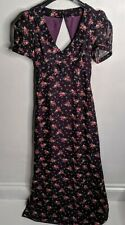 Size 8 Purple Floral Maxi Dress Cut Out Back Xmas Party Wedding Guest Tea Dress