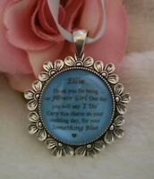 BRIDAL BOUQUET CHARM PERSONALISED THANK YOU Bridesmaid FlowerGirl SOMETHING BLUE
