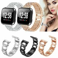 For Fitbit Versa Smart Watch Strap Crystal Bead Wrist Band Stainless Steel