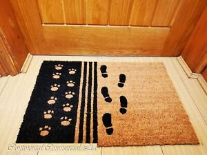 Anti Slip Doormat Rubber Base Natural Coir Doormat footprint design