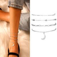 Fussketten Set Fusskettchen Damen Fußschmuck Fußkette Modeschmuck Silber 4 Stück