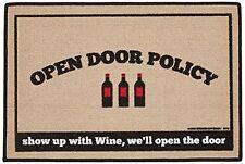 """Open Door Policy """"WINE""""  - Indoor/Outdoor Mat/Welcome Mat/Porch Mat"""