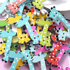 Cute Giraffe Wooden Buttons Decorative Animal Wooden 2 Holes Sewing Buttons NEW
