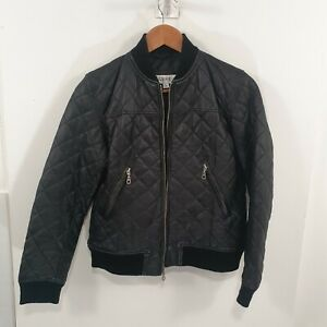 Asaele Quilted Black Lambskin Bomber Jacket Sz L Fit Ladies 8