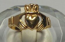 14k Traditional Claddagh Yellow Gold Heart in Hands Ring Size 7.75