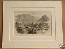 LUGANO AND LAKE SWITZERLAND ANTIQUE MOUNTED ENGRAVING c1890 FROM VINTAGE BOOK