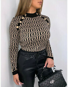 Women's Ladies Greek Print Gold Button Knitted Mock Neck Jumper Sweatshirt Top