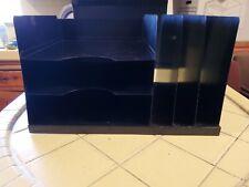 Steel Metal Black Wood Grain Desk Top Paper File Folder Organizer 3 Trays Slots