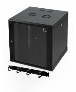 """15u 550mm 19"""" Black Wall Mounted Data Cabinet, with Cable Management Bar"""