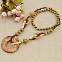 Vintage Sun Carved Wood Pendant Sweater Necklace Beaded Long Chain Women Jewelry