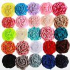 "20PCS 3"" Fashion Rolled Rosette Satin Flowers For Headbands Soft Silk Fabric"