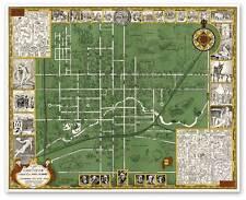"""Oberlin College, Ohio Campus Guide Map circa 1929 - 24"""" x 30"""""""