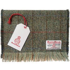 Harris Tweed Green & Fawn Herringbone Pure Wool Luxury Mens Womens Fringed Scarf