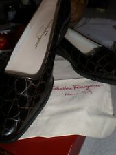 NEW Salvatore Ferragamo LADY Loafers Shoes ESSPRESSO CROC PATENT Leather SZ 11B