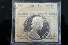 1965 Canada silver one dollar $1 - **ICCS MS-64 heavy cameo**