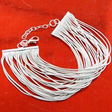 BRACELET BANGLE REAL 925 STERLING SILVER S/F ANTIQUE FINE STRAND DESIGN FS3B051