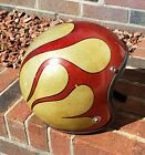 VTG 1966 Arai R-6M Motorcycle Helmet Gold Red Metal Flake Flames Size C 7.5-7.75