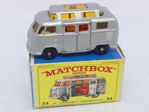 MATCHBOX LESNEY VOLKSWAGEN CAMPER VW - No 34 - ( High Roof ) Boxed