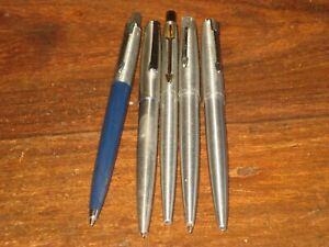 Three Vintage Parker Steel Flighter Ballpoint Pens And A Steel Cap Jotter Pen.