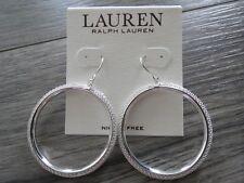 drop hoop earring, Nwt Ralph Lauren silver tone mesh