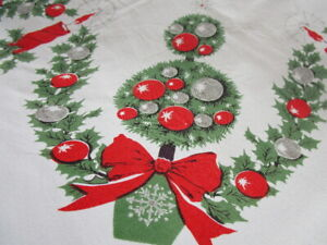 Vintage 1950s CHRISTMAS TABLECLOTH  red/green balls TREES candles HOLLY ~ 60x52