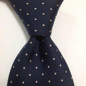 SULKA Men's 100% Silk Necktie FRANCE Luxury Designer POLKA DOT Blue/Ivory GUC