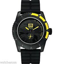 MARC ECKO THE EMX Men's E13541G1 Black Silicone Steel Yellow Quartz zk Watch