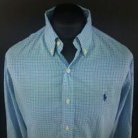 Polo Ralph Lauren Mens Shirt LARGE Long Sleeve Blue SLIM FIT Check Cotton